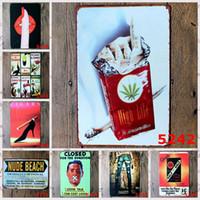 eski reklamcılık toptan satış-Parmak Kovboy Kadın Sigara Reklam Kalay Posteri Vintage 20 * 30 cm Do Eski Çerçevesiz Demir Boyama Kapalı Metal Tabela Yaratıcı 4rjY