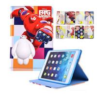 Wholesale Opp Bag Print - For iPad 6 5 air 2 1 Mini 4 Cartoon Baymax Big Super PU Stand Cover Auto sleep wake OPP BAG
