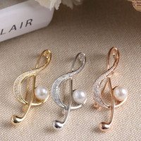 Wholesale Music Brooches - Wholesale- 2017 New 1 pc Elegant Music Note Inlay Simulated Pearl Zirconia Brooch Pin For Women girls Stainless Steel Brooch Clothing Acces