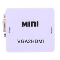 projetor conversor portátil venda por atacado-Frete Grátis Mini VGA para HDMI Converter Com Áudio VGA2HDMI 1080 P Conector do Adaptador Para Projetor PC Laptop para HDTV com HDMI2VGA Converter