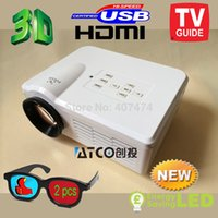 Atacado-mais novo 1300lumens 3d LED Electric Zoom portátil Video Pico micro pequeno mini projetor HDMI USB AV VGA TV sintonizador de TV Home Theater