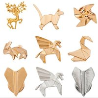 Atacado-2016 Unique Design Origami Gato Cervos Elk Antler Cavalo Rabbit Plano Broches para Mulheres Moda Boho Chic Origami Animal Broches