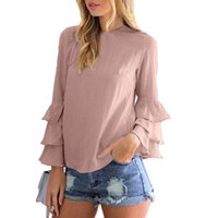 Wholesale Shirts Flouncing - 2017 Women Elegant Blouses Shirts Ladies O Neck Flounce Long Sleeve Solid Color Fashion Casual Loose Pullovers Oversized XXXL ZL3429