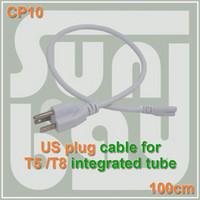 nakliye bağlamak toptan satış-Ücretsiz kargo T5 T8 bağlantı kablosu Güç kabloları standart ABD fişi ile T5 T8 için entegre led tüp 3 Prong 100 cm Kablo