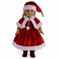 Wholesale Wholesale 18 Inch Doll Accessories - Wholesale Christmas Clothes Clothing Accessories For 18 Inch American Girl Dolls 3 Colors Cloth For American Girl Dolls Cloths Accessor