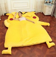 Wholesale Totoro Plush Sofa - PIKACHU Design Big Sofa 2m*1.2m 2m*1.5m PIKACHU Dedpika Bed PIKACHU SLEEPING BAG Totoro Bed Cute Giant Rilakkuma Cushion Bed Looks