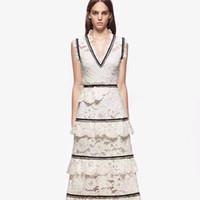 vestidos multicapa al por mayor-El nuevo bordado floral del cordón sin mangas del v-cuello de la manera del diseño de la manera de las mujeres multi-acodó las vestidos largos de la playa del vestido de la playa del vestido