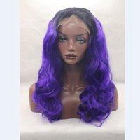 Wholesale Body Heat Hands - Synthetic Lace Front Wig Black Ombre 1b# T Dark Purple Hand Tied Glueless Heat Resistant Body Wave Lace Front Party Wig