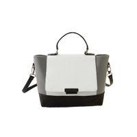 Wholesale Black Color Block Dress - Wholesale-Fashion Women OL Trapeze Handbag,Black White Patchwork PU Leather Color Block Magnetic Button Tote Crossbody Messenger Bag