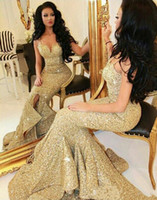 Wholesale Evning Dressing - Sparkle Gold Mermaid Prom Dress Backless Sequin Sexy Formal Prom Dresses Evning Party Gowns 2017 Great Gatsby Dress