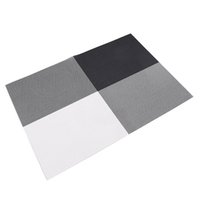 Wholesale Round Restaurant Tables - Wholesale- 4pcs Placemats Vintage PVC Insulation Plaid Dining Table Mats Pad Restaurant Bar black