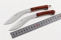 facas de machete venda por atacado-2017 Novo Nepal Machete 440C Lâmina De Cetim Lidar Com Lâminas de Faca De Madeira Fixa Com Bainha de Nylon Preço Barato
