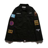Wholesale uniform buttons - Men's Thin Casual Epaulet Jackets Kanye WEST Jacket MA1 Bomber Jacket Pilot Jackets Fashion Men's Baseball Uniform Hip Hop Jacket