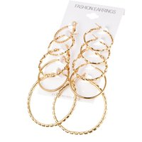 5 paires / set Oblate Design Créole Hoop Boucles d'oreilles Vintage Gold Color Big Circle Earrings Femmes Exagéré Ear Clip Jewelry Accessories Gift