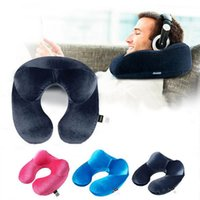 Wholesale Pillow Head Rest Car - Inflatable Neck Pillow Portable Travel Soft U Shape Head Support Cushion Rest Car Flight Seat Pillow OOA2336