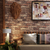 Wholesale Natural Entertainment - Wholesale-Red brick stone paper wall natural rustic vintage 3D effect designer vinyl wallpaper for living room background wall decor