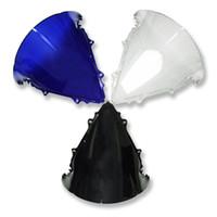 pára-brisa azul para motocicleta venda por atacado-Pára-brisa da motocicleta pára-brisa para yamaha yzf r6 2003-2005 preto azul claro