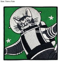 Wholesale Astronaut Cosplay - Funny Astronaut Cat Patch Space Cat profesor Astro Cat tv movie Embroidered Emblem applique iron on halloween cosplay costume cool patch
