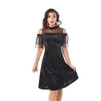 ingrosso beauty mini dresses-Vestiti delle donne del giardino di bellezza Sheer rivestito di pannelli dalla spalla vestiti da sera neri da sera casuali del partito