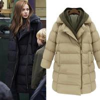 Wholesale Womens Batwing Coats - Brand New Winter Womens Thicken Korean Cotton Blend Down Hooded Long Jacket Puffer Coat Parka Outwear Coat
