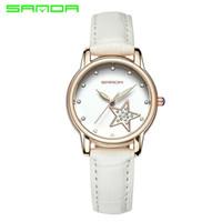 Wholesale Sparkling White Quartz - Sanda Watches Women Fashion Watch 2017 Spring Brand Luxury Crystal Sparkling Glasses Fashion Leather Strap Quartz Clock 200
