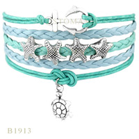 benutzerdefinierte anker armband großhandel-Custom-Infinity Love Anker vier Seestern Turtle Charm Wrap Armbänder Weihnachtsgeschenke Damenmode Armbänder blau schwarz Lederarmbänder