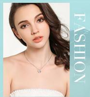 Wholesale European Super Fashion Necklace - 2017 new necklace pendants, 925 sterling silver Korean version of super-flash zircon lock chain Four clover Fashion European and American