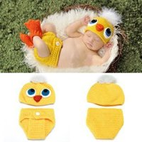 Wholesale knitted baby animal outfits - Duck Crochet Knit Baby Hat and Cover with Shoes Christening dresses Costume Outfit Newborn Photography Props Animal Photo Props