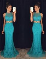 türkis langes halsstück großhandel-Elegante Spitze-lange Abschlussball-Kleider zwei Stücke Mermaid-Abend-Partei-Kleid-Juwel-Hals-Sleeveless korallenrote pinkfarbene Türkis-Frauen-Abnutzung
