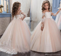 Wholesale White Strapless Dresses For Kids - Kids Flower Girls Dresses for Weddings 2017 Pentelei with Illusion Long Sleeves and Strapless Tulle Blush Floor Length Little Girls Gowns