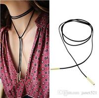 eingewickelte kette großhandel-Damen Gothic Black Leather Velvet 90cm lange Chokerhalsband Kette Tassle Wrap Halskette