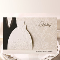Wholesale Convite Casamento Laser - Wholesale-50pcs elegant laser cut luxurious Wedding Invitations card envelope marriage invitation cards Wishmade Convite Casamento