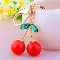 Wholesale Good Metal Toys Car - Double Red Cherries Key Chains Toys Creative Metal Car Keychains Birthday Valentine's Day Gift For Girls Accessories Good Gifts Wholesale