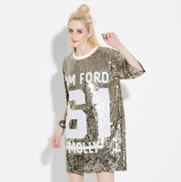 Wholesale Short Gold Glitter Dress - 2017Women Loose Long Letters Print Glitters T Shirt Half Sleeve Shirt Dress Femininas O-Neck Vintage Casual Tops