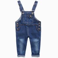 Wholesale Denim Suspenders - 2017 New Spring Autumn Denim Overalls Girls Boys Jeans Fashion Baby Boys Girls Jumpsuit Pants Kids Clothes Children Jeans Kids Clothes