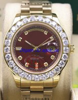 Wholesale Oval Watch Faces - New Red Face Diamond Presidential 18K Yellow Gold 18038 Single Quick Set men watch Wristwatch