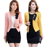 Wholesale Korean Womens Blazers - Fashion Korean Womens Long Sleeve Slim Short OL Suit Jacket Blazer Coat Casual