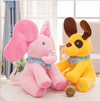 Wholesale Pink Animated - Peek-a-boo pink Elephant dog doll Baby Plush Toy Singing movable Stuffed Animated Dolls hide and seek Elephantas Animals Electric toy music