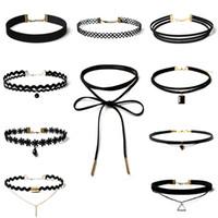 Wholesale Leather Tattooed - Vintage Velvet Chokers Necklace for Women Black Retro Gothic Punk Grunge Velvet Tattoo Necklace Stretch Collar Necklace