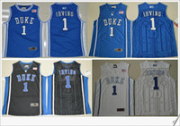 Wholesale Cheap V Neck Mens Shirts - Duke Blue Devils #1 Kyrie Irving V Neck Mens American College Stitched Embroidery Cheap Sports basketball Shirts Throwback pro team Jerseys