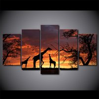Wholesale Giraffe Sheets - 5 Pcs Set Framed HD Printed giraffe sunset Painting Canvas Print room decor print poster picture canvas Free shipping ny-2861