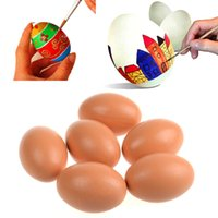 Wholesale Hen Nesting - Wholesale- BS#S 3pcs New Baby Toys Educational Toys Chicken Egg Hen Easter Egg Painted Graffiti Wood Decoration Dummy Nesting