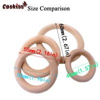 Wholesale organic teething necklace - 25-98mm(0.98in-3.86in) 20pcs Nature Wooden Ring Teether Montessori Baby Toy Organic Infant Teething Toy Necklace DIY Baby Teether