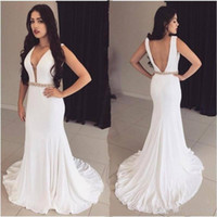 Wholesale Mermaid Open Back Deep - Vestidos de fiesta White Mermaid Prom Dresses 2017 Sexy Open Back Deep V Neck with Beaded Sash Long Party Evening Gowns