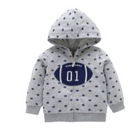 Wholesale Baby Boy Fall Clothing - Baby Boys Rugby Football Hoodie Coats 2017 Fall Infant Clothes Baby Cotton Casual Sweatshirts Baby Full Zipper Cardigan Coats