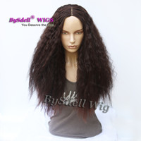 Wholesale Hair Color Simulation - Afro Frizzy Kinky Curly Hair cut Wig Simulation Human Hair Synthetic Dark Brown Color Hair African American Wigs for Women