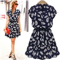 Wholesale Broken Knee Cap - In the summer of 2017 autumn dress new Europe and cultivate one's morality show thin broken beautiful short-sleeved dress skirt