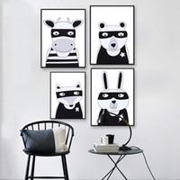 bebek hayvanlar çizgi film resimleri toptan satış-İskandinav Sanat kawaii Karikatür Hayvan Ayı Tilki Tavşan Tuval Poster Boyama Komik Karikatür Duvar Resim Baskı Çocuk Bebek Odası Dekorasyon