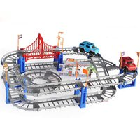 Wholesale Wholesale Christmas Present - New Style Electric Educational Toys Train Railway Slot Racing Track Car For Kids Christmas Gift for children Present Wholesale