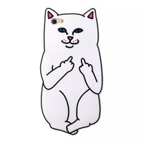 Wholesale Cell Phone Accessories Cat - Silicone cell phone accessory for iphone7 with Pocket Cat pattern cover New Design Middle Finger Cat phone case